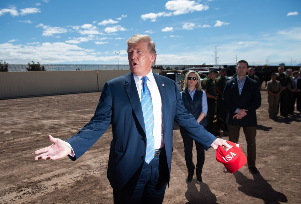 President Trump toured the border wall between the United States and Mexico in Calexico, Calif., on April 5.