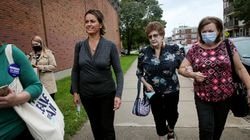 Mayoral candidate Annissa Essaibi George (left) was accompanied her mother, Barbara Essaibi (right), and Mary Walsh (center), mother of former Boston mayor Marty Walsh, to an early-voting location at the Perkins Community Center in Boston on Sept. 9.