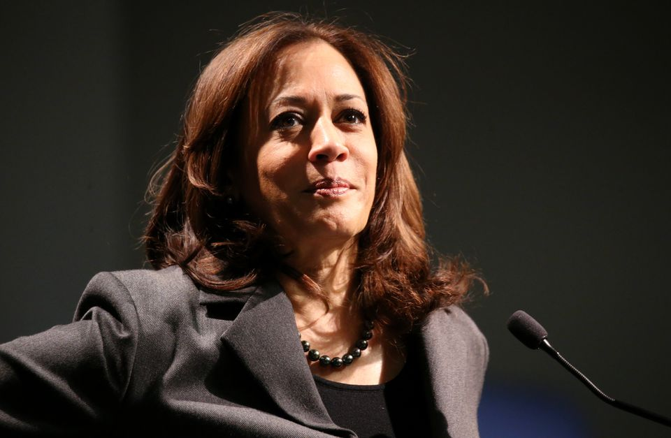 """United States Senator Kamala Harris answers a question during """"Politics & Eggs"""" at the New Hampshire Institute of Politics St. at Anselm College in Manchester, Feb. 19."""