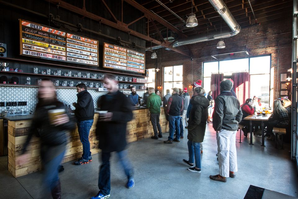 A Saturday afternoon crowd at Notch Brewing in Salem.