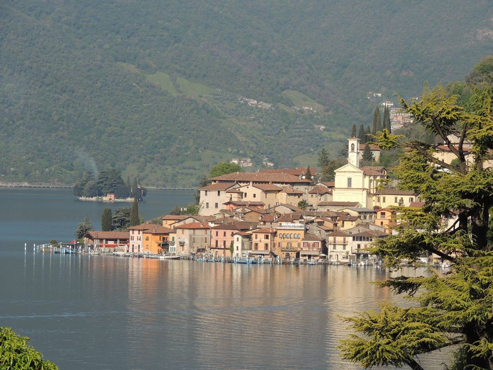 The town of Sulzano with Monte Isola rising in the background.