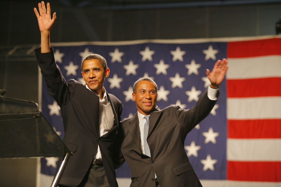 US Senator Barack Obama and candidate for Massachusetts governor Deval Patrick at a rally at the Reggie Lewis Center in November 2006.