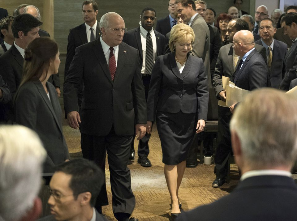 """Christian Bale as Dick Cheney and Amy Adams as Lynne Cheney in a scene from """"Vice."""""""