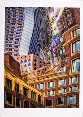 """Bob Hesse's """"Unquiet City II'' is part of """"New England on Paper"""" at the Boston Athenaeum."""