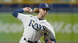 The Rays' Shane Baz pitched two-hit ball for five innings.