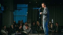 Dan Boulger onstage at Laugh Boston soon after the Seaport comedy club reopened.