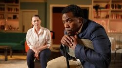 """Angela Pierce and Jason Bowen in """"Reparations"""" at Gloucester Stage Company."""