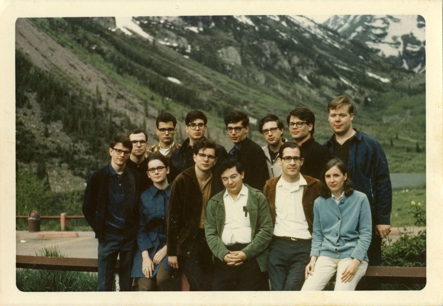 Albin Ifsich (standing third from left), John Gidwitz (standing sixth from left), and Lynn Harrell (standing far right) on a 1969 trip with other members of the University Circle Orchestra.