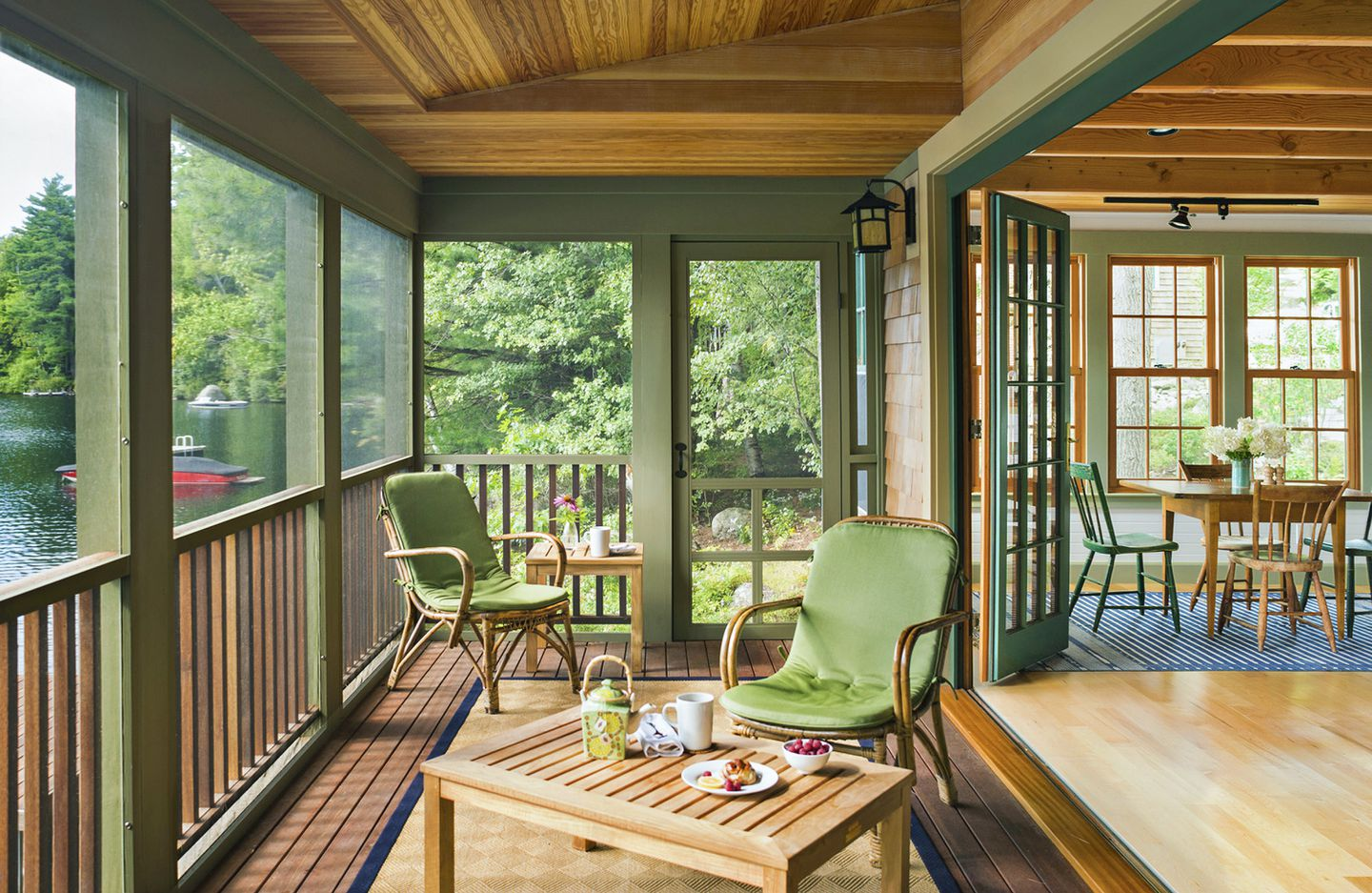 Benjamin Moore Georgian Green a rustic guesthouse on a new hampshire lake couldn't be more