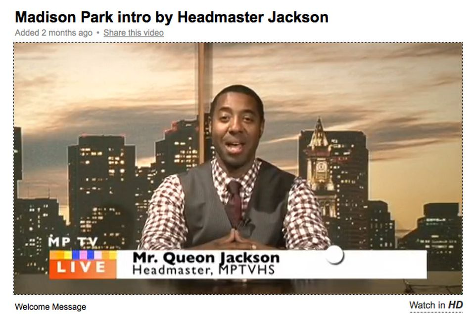 Queon Jackson was appointed acting headmaster of Madison Park Vocational Technical High School in early September, days before school started and after a search for a permanent headmaster fell apart over the summer.