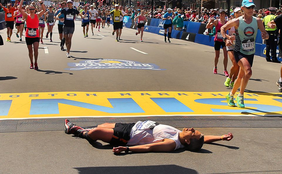 Pain and exhaustion awaits the elite and non-elite runners at the finish.