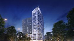A rendering of the proposed Luxury apartment tower in Everett.