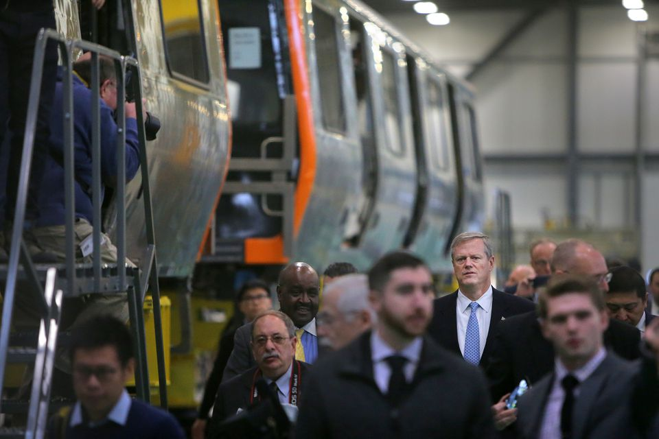 Governor Charlie Baker toured the factory where they were rolling out the new Orange Line cars in Springfield.