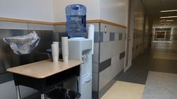 In 2019, bottled water was provided near a fountain in Center School in Stow. Water fountains were shut off and food prep moved after findings of elevated levels of PFAS chemicals. These are the state's first schools where elevated levels of these so-called forever chemicals have been found.