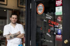 Watertown, MA - 3/5/2013 - Tim Maslow (cq) chef at Strip-T's was photographed in Watertown, MA on Tuesday, March 5, 2013. This is for a story about the Watertown restaurant scene. (Yoon S. Byun/Globe Staff) Slug: n/a Reporter: kathleen pierce LOID: 5.1.1008485956 -- 20munch