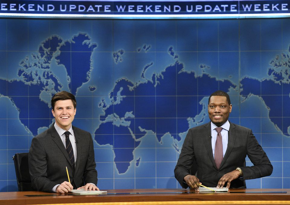"""Michael Che (right) and Colin Jost during Weekend Update on """"Saturday Night Live."""""""