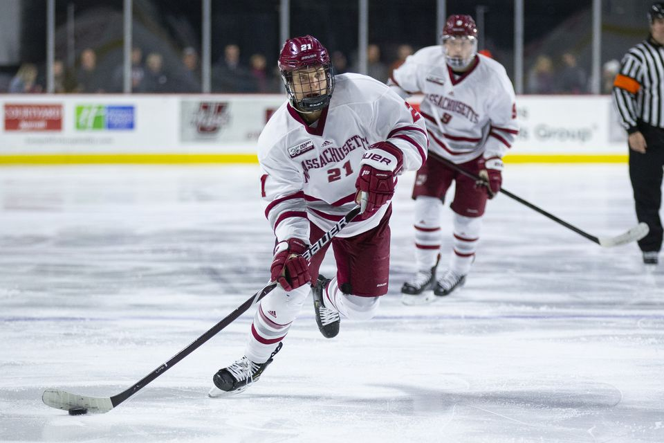 Sophomore Mitchell Chaffee had two goals and two assists in UMass's 7-4 win over UConn.