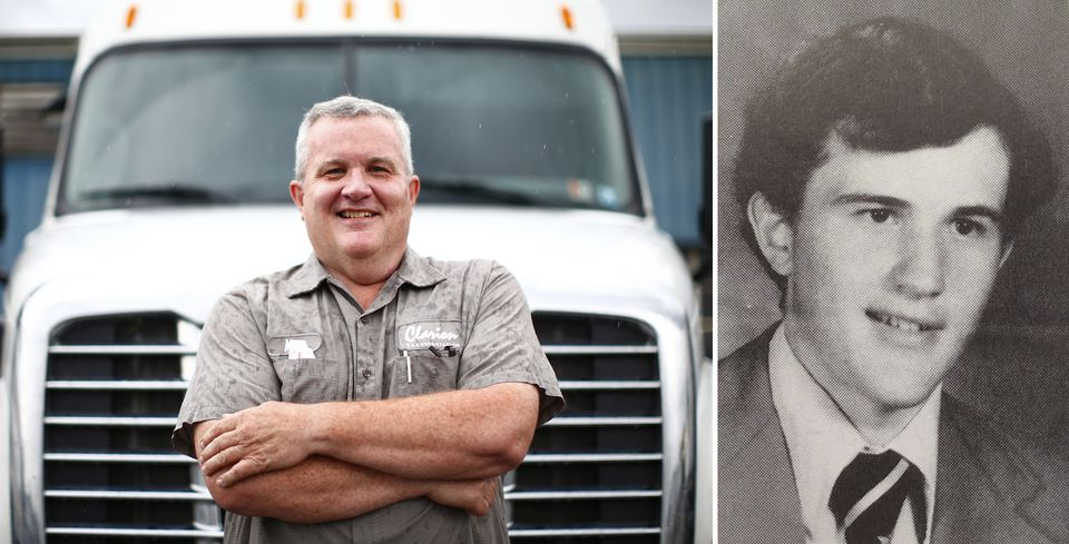 Left: Mike Linnon drives a tractor-trailer today. Right: Linnon in 1976.