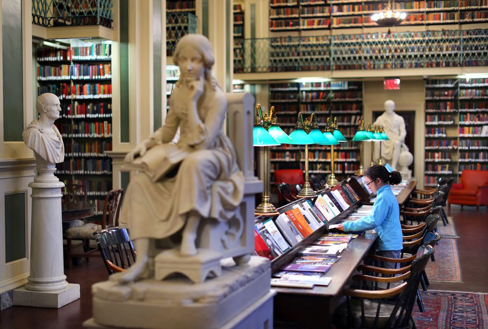 The second floor Long Room at the Boston Athenaeum.