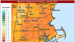 Highs on Sunday will reach the mid-90s in several areas.