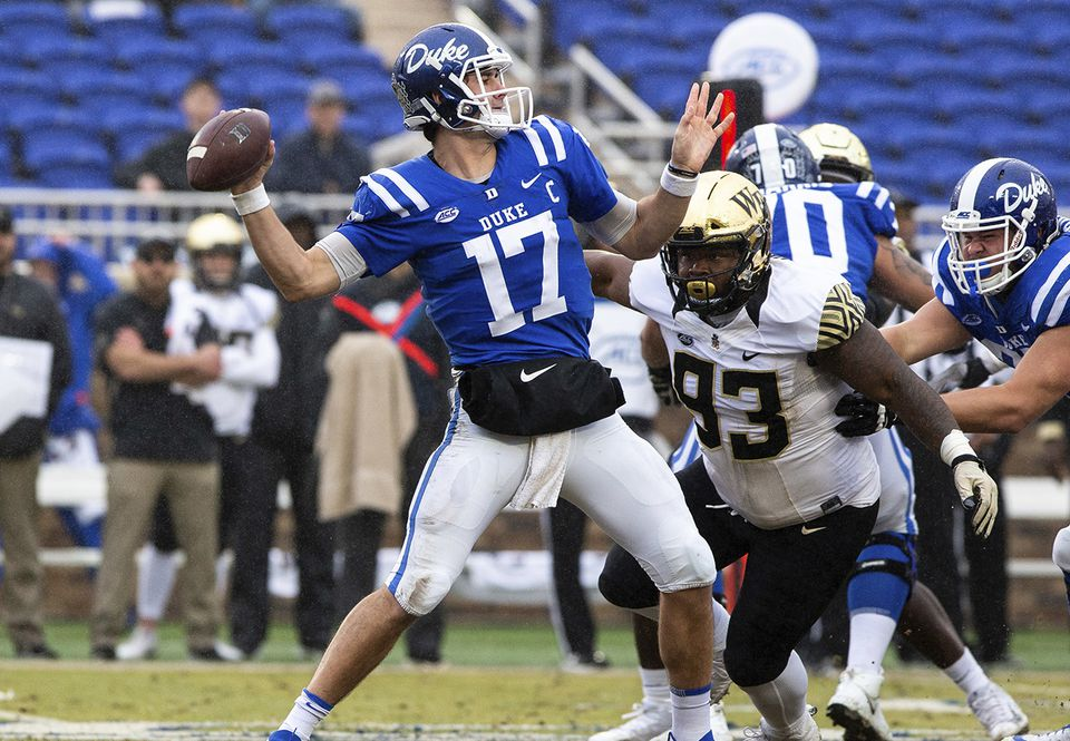 Daniel Jones threw for 8,201 yards and 52 touchdowns in three seasons at Duke.