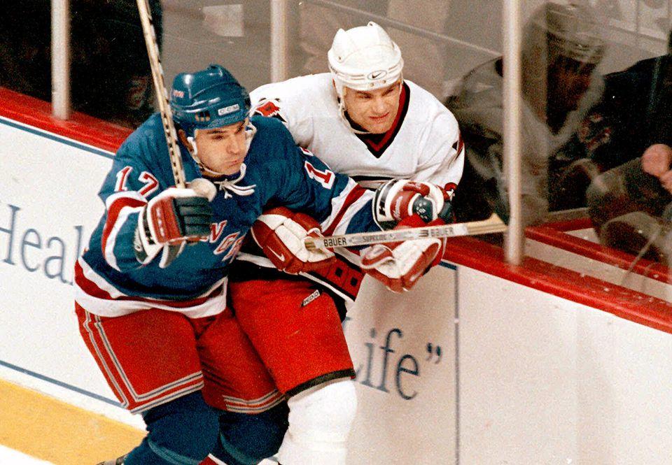 Stevens (left) with the Rangers in 1998.