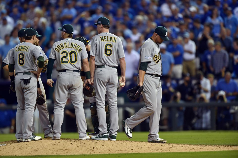 The Royals chipped away at Oakland starter Jon Lester, who allowed six runs and eight hits in 7 1/3 innings.