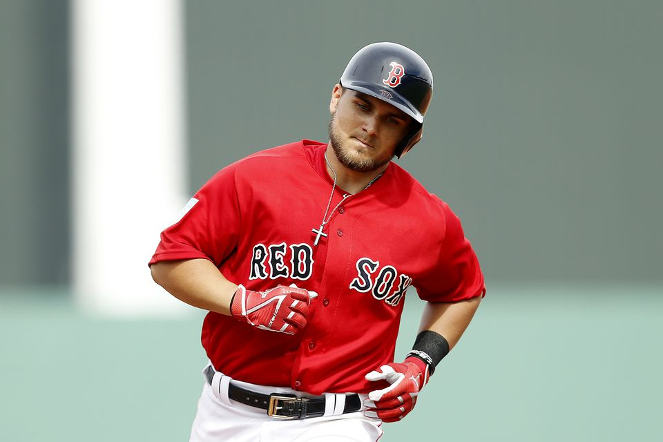 Michael Chavis rounds the bases after a three-run homer Wednesday against the Orioles.