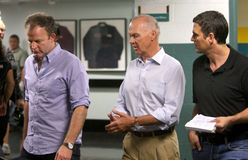 """From left: """"Spotlight"""" director Tom McCarthy, and actors Michael Keaton and Mark Ruffalo during filming in 2014."""