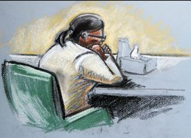 Munyenyezi in Federal Court during opening arguments in Concord, N.H.