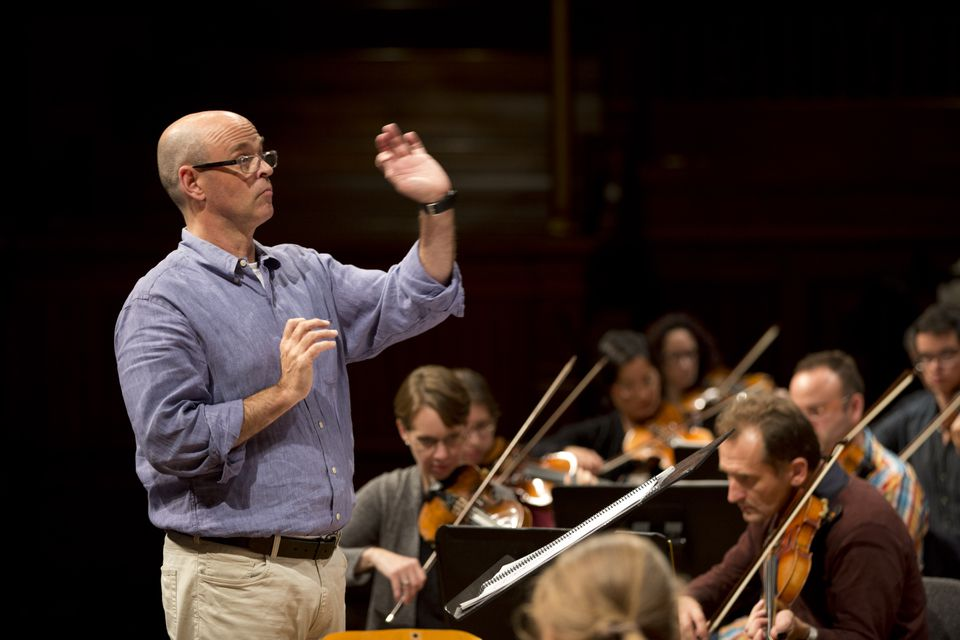 Artistic director Gil Rose and the Boston Modern Orchestra Project, rehearsing recently at Sanders Theatre.