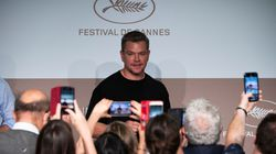"""Matt Damon arrives for a press conference for the film """"Stillwater"""" at the 74th edition of the Cannes Film Festival in Cannes, southern France, on July 9, 2021."""