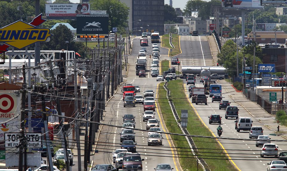 A view of Route 1A, with a sign for the entrance to Suffolk Downs in the background, from Revere. If the city of Revere decides it wants a casino, East Boston shouldn't be able to stop it, writes Shirley Leung.