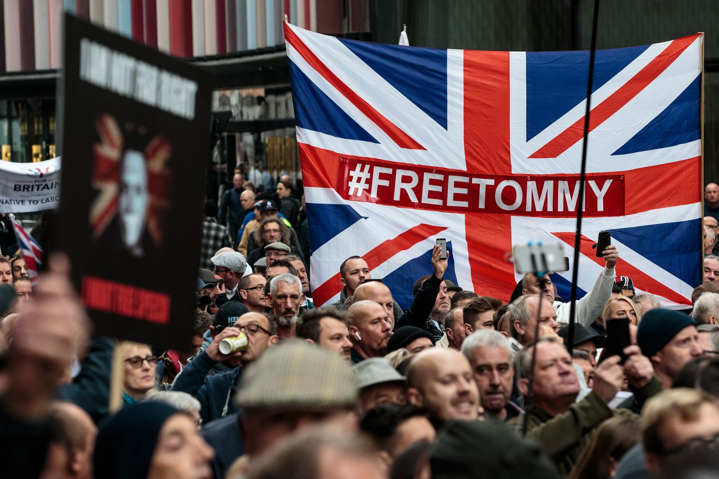 Supporters of Tommy Robinson gathered outside the Old Bailey courthouse in London in October.