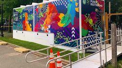 Silvia López Chavez's latest public artwork is a colorful mural wrap.