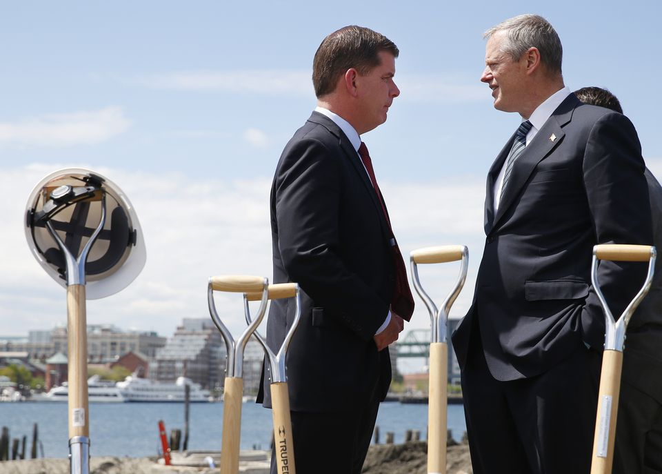 Boston Mayor Marty Walsh and Governor Charlie Baker could be breaking ground on Amazon's new headquarters if they work with Somerville Mayor Joe Curtatone to woo the online retailer.