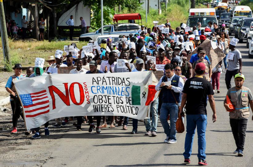 African migrants marched Aug. 30 in Tapachula, Mexico — on the border with Guatemala — to demand humanitarian visas that would enable them to cross Mexico on their way to the US.