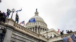 Rioters on the Senate side of the United States Capitol in Washington
