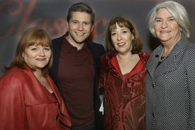 "From left: actors Lesley Nicol, Allen Leech, Phyllis Logan, and executive director of ""Masterpiece Theatre"" Rebecca Eaton at a WGBH event."