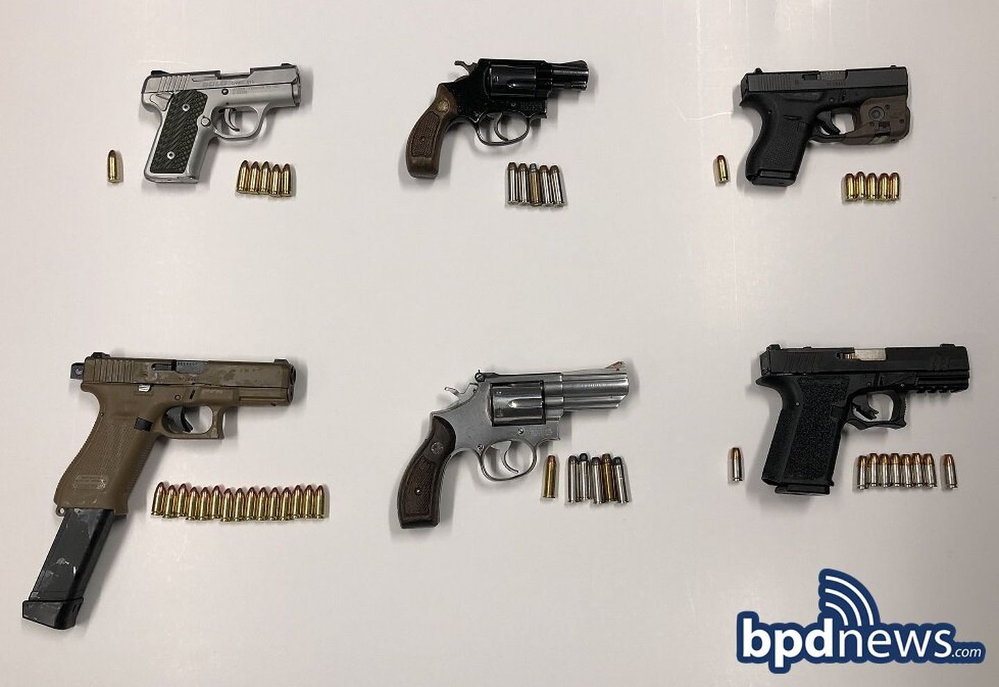 Boston police recovered these six illegal firearms in Dorchester on Nov. 16.
