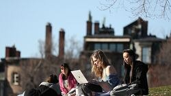 On Boston Common, with the homes of Beacon Street as a background, students Devin Turcotte, left, and Marisa Ariyoshi studied in the warm spring weather recently. This has been one of the nicest springs since 2012, but forecasters are trying to predict how long the sunshine can really last.