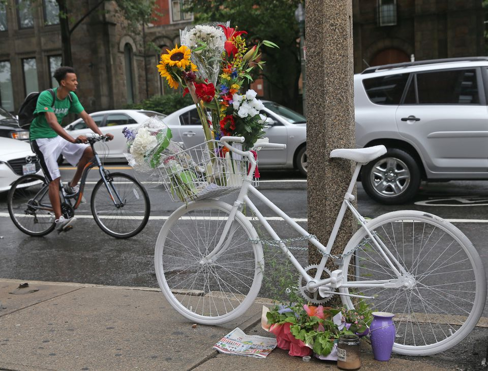 A ghost bike left at the corner of Mass. Ave. and Beacon Street, where a Boston surgeon was killed in a Back Bay bicycle crash in August, 2015.