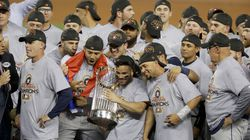 The Houston Astros celebrated after their win against the Los Angeles Dodgers in Game 7 of the 2017 World Series in Los Angeles. It was later revealed the Astros used a system to tip off batters on what pitch was to be thrown.