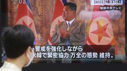 North Korean leader Kim Jong Un shown on a TV screen in Tokyo.