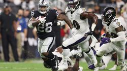 Raiders running back Josh Jacobs had two touchdowns against Baltimore in Monday's overtime victory.