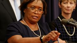 Department of Children and Families Commissioner Linda Spears during a press conference at the State House in Boston on September 4, 2015. Spears and an array of public agencies will testify on Tuesday in a highly anticipated oversight hearing into David Almond's death.