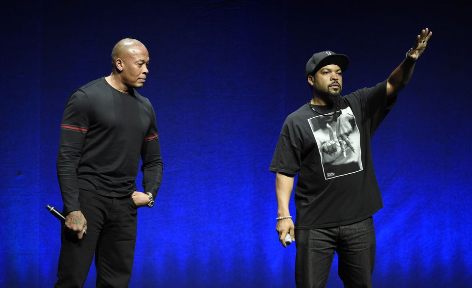 N.W.A. members Dr. Dre, left, and Ice Cube.
