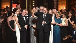 """Producer Scott Rudin and the cast of """"Hello, Dolly!"""" accepted the award for best revival of a musical during the 2017 Tony Awards."""