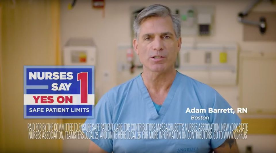 Screenshot from an ad from the Committee to Ensure Safe Patient Care, which is backed by the Massachusetts Nurses Association.