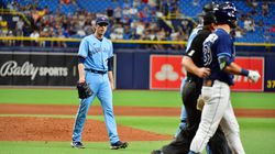 The Blue Jays' Ryan Borucki was ejected after plunking the Rays' Kevin Kiermaier in the eighth inning.